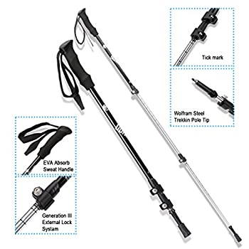 Trekking Poles Hiking Sticks, Dohiker Aviation Aluminum Hiking Poles Telescopic Walking Poles 3 Sections External Lock Adjustable For Muddy Mountain Road Snowfield (2 Packs) 2