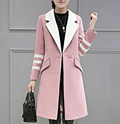 MO Autumn and Winter Coat in the Long Coat Fashion Large Size Women Slim Was Thin Twist Wave by MO