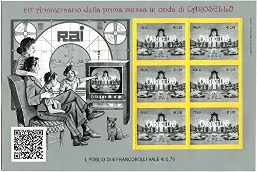 """'201760° Jahrestag der ersten af in Welle-Karussell 19572017Rai Radio Fernsehen Italienische BF Packungsbeilage von poste Italiane der Kunstschätze und kulturelle Italienisch """""""