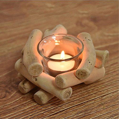 huavin decorativo para vela té luz titular de madera natural y cristal
