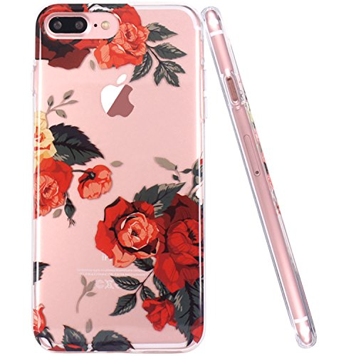 Coque iPhone 7 Plus, Coque iPhone 8 Plus, JIAXIUFEN TPU Coque Silicone Étui Housse Protecteur Fleur Floral - Red Rose Red Rose