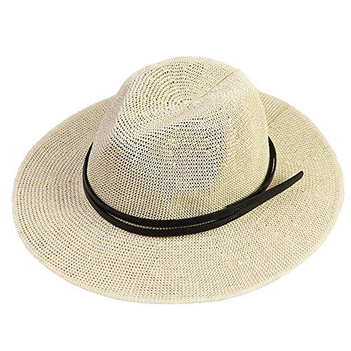 Panama Jazz Hut für Frauen Damen Mädchen Sommer Stroh Sonnenhut Naturfarben (Panama-hut Borsalino)