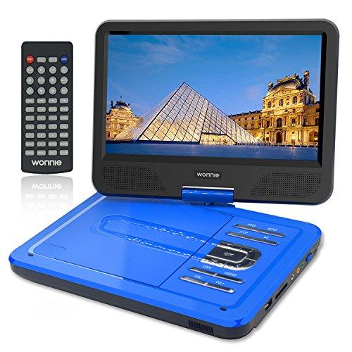 """WONNIE 10.5"""" Tragbarer DVD-Player, Schwenkbaren Bildschirm, HD Display 4-5 Stunden Akku, USB/SD Slot, Perfekte Geschenke für Kinder (Blau)"""