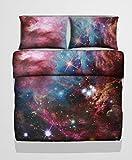 3D-Betwäschegarnitur mit Galaxie-Motiv für Einzel-, Doppelbett und King Size, Weltall, Universum, Mikrofaser, Nebula 4, Einzelbett-Größe