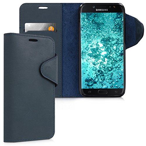 kalibri-Hlle-fr-Samsung-Galaxy-J7-2017-DUOS-Echtleder-Wallet-Case-Schutzhlle-mit-Fach-und-Stnder-in-Dunkelblau