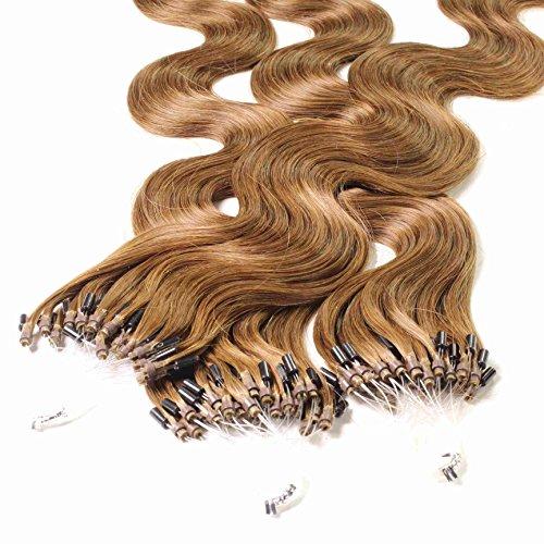 Hair2heart 100 x 1g microring loop extension capelli veri - 50cm - ondulato, colore #8 biondo scuro
