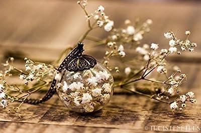 Collier inclusion de fleurs blanches de gypsophile 25mm - Pendentif bohème avec inclusion de fleurs séchées naturelles - Idee cadeau anniversaire - Mariage - Cadeau de Noel - Black Friday