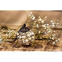 Colgante de flores blancas de gipsofila - Collar hippie de flor seca natural - Joya de cristal soplado - 25mm - Regalos original para mujer - Navidad