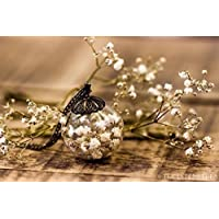Colgante de flores blancas de gipsofila - Collar hippie de flor seca natural - Joya de cristal soplado - 25mm - Regalos original para mujer - Reyes - Prime