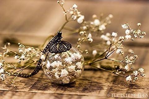 Collier inclusion de fleurs blanches de gypsophile 25mm - Pendentif bohème avec inclusion de fleurs séchées naturelles - Idee cadeau anniversaire - Mariage