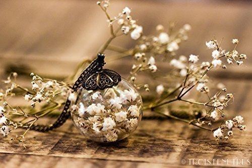 Colgante de flores blancas de gipsofila - Collar hippie de flor seca natural - Joya de cristal soplado - 25mm - Regalos original para mujer - cumpleaños - Regalo de Navidad - Prime