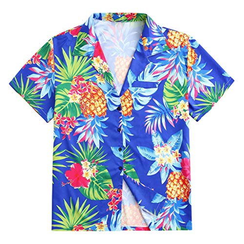Skang Camisa Hawaiana para Hombre,Tropical Estampado Funky Printed Fantasy Solapa Manga Corta Blusade...