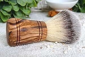 """'D.O.M. Blaireau en cheveux synthétiques (végétalien) avec poignée en bois d'olivier type Sir George """""""