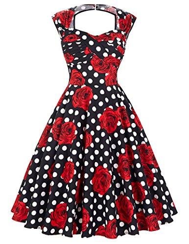 Belle Poque® 50er Vintage Retro Rockabilly Kleid Sommerkleid knielang in  mehreren Farben BP0249