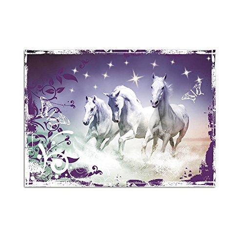 GRAZDesign Wandtattoo Steine selbstklebend Drei Pferde - Wandtattoo Kristalle Banner mit Ornamenten - Wandtattoo Lila Farben / 79x57cm / 851111_57