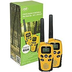 PMR 446MHz–Par de walkie-talkies de radios de dos vías PNI Pilka PMR R6, para actividades al aire libre, 8CH PMR446, no Cargador o batería incluida, 38/83Códigos CTCSS DCS de códigos, 0.5W PMR