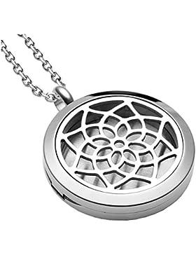 JOVIVI Edelstahl Aromatherapie Ätherische Öle Diffusor Halskette Lotus Blume Floating Medaillon Aroma Diffuser...