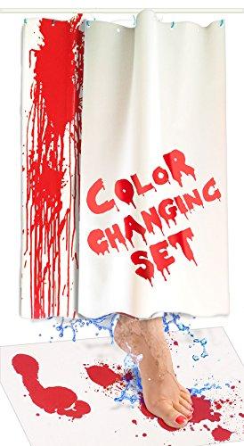 Bloody Badvorleger - Farbwechsel-Badvorleger, rot, wenn nass - Machen Sie Ihre eigenen Blutungen, die Verschwinden, weiß - Bettlaken, für Dusche/Badezimmer Mat & Shower Curtain Set weiß (Für Teenager Halloween-ideen Mädchen)
