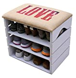 LIZA LINE MEUBLE CHAUSSURES (Blanc), BANC de RANGEMENT pour Chaussures avec ÉTAGÈRES. Assise Confortable en Tissu. Bois Massif Scandinave - 51 x 45 x 36 cm (LOVE)