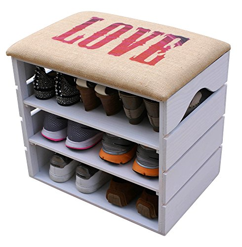 LIZA LINE SHOE RACK (WHITE) - Premium Vintage Wooden Shoes Organiser, Storage, Cabinet, Holder Bench with Soft Seat Cushion for Entryway, Hallway. Solid Nordic Wood - 51 x 47 x 35 cm (Love)