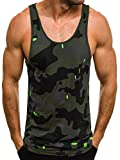 OZONEE Herren Tanktop Tank Top Tankshirt T-Shirt mit Print Unterhemden Ärmellos Weste Muskelshirt Fitness Breezy 722 Grün L