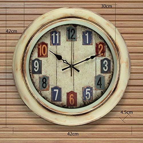 DollylaStore Horloge Murale Simple Style Rural Rural méditerranéen Muté Salon décoration horloges (Emballage de 1) (Couleur: B, Taille: 16 Pouces) ( Color : D , Size : 16 inches ) | De Biens De Toutes Sortes Sont Disponibles