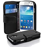 Cadorabo - Etui Housse pour Samsung Galaxy S4 MINI (I9195) - Coque Case Cover Bumper Portefeuille (avec fentes pour cartes) en NOIR DE JAIS