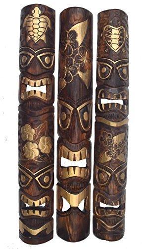 3 Tiki Wandmasken Wandmaske im Hawaii Look aus Holz in 100cm Länge