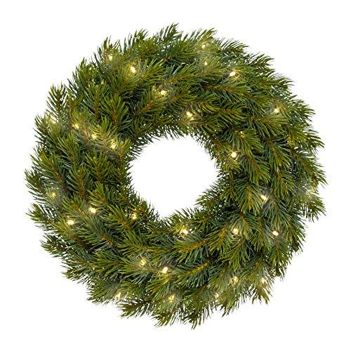 wohnfuehlidee Künstlicher Tannen-Kranz mit 40 LED, 107 Zweige, Farbe grün, Ø 42 cm