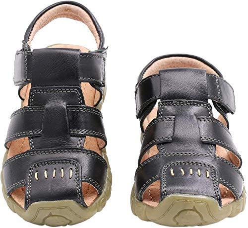 Gaatpot Unisex-Kinder Sandalen Mädchen Jungen Kindersandale Geschlossene Leder Sandale Sommer Sandaletten Lauflernschuhe Schuhe Schwarz 25 EU/25 CN