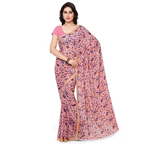 ANAND SAREES Faux Georgette Multi Colored Printed Saree With Blouse Piece (1159_1 )  available at amazon for Rs.249