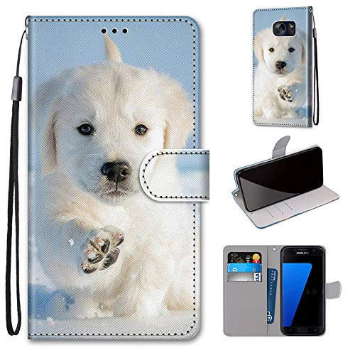 Miagon Flip PU Leder Schutzhülle für Samsung Galaxy S7,Bunt Muster Hülle Brieftasche Case Cover Ständer mit Kartenfächer Trageschlaufe,Schnee Hund