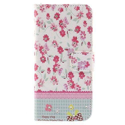 iPhone 6 6S Hülle Klapphülle von NICA, Slim Flip-Case Kunst-Leder Vegan, Phone Etui Schutzhülle, Dünne Vorne Hinten Handytasche Wallet Bumper für Apple iPhone 6S 6 - Pretty Roses Edition Pretty Red Flowers