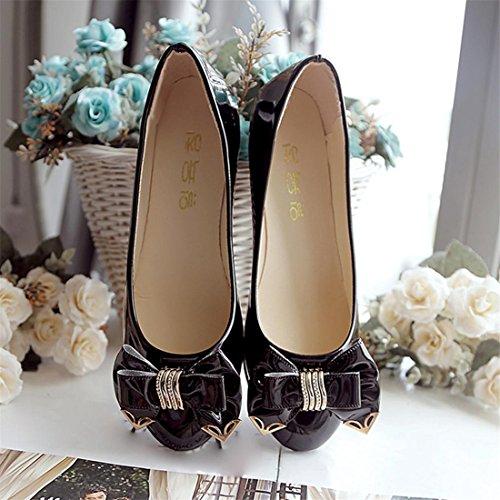 Malloom® Sandalen, Frauen Kunstleder Spitzschuh Blumenmuster Flache Schuhe Schwarz