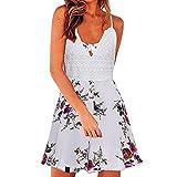 Yanhoo Frauen Floral Bedruckt Böhmische Kurze Schmetterling Ärmel V-Neck Sommerkleid Strand Rüschenrock Sommerkleid Dame Elegant Knielang Strandkleider (S, Weiß)