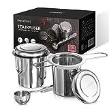 Homemaxs Teesieb, Edelstahl 2 maschigen Teefilter inklusive 1 Löffel,  Premium Teesieben mit Faltbare Griffgestaltung Passend für Teekannen, Bechern, Tassen