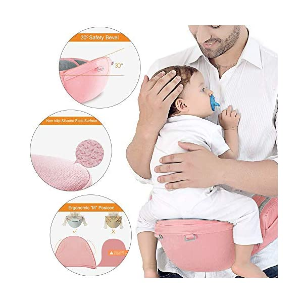 Azeekoom Baby Carrier, Ergonomic Hip Seat, Baby Carrier Sling with Fixing Strap, Bibs, Shoulder Strap, Head Hood for Newborn to Toddler from 0-36 Month (Pink) Azeekoom 【More Ergonomic】 - Baby carrier for newborn has an enlarged arc stool to better support the baby's thighs, the M design that allows the knees to be higher than the buttocks when your baby sits, is more ergonomic.The silicone granules on the stool provide a high-quality anti-slip effect that prevents the baby from slipping off the stool. 【Various Methods of Carrying】- There are 5 combinations of ergonomic baby carrier and a variety of ways to wear them.Hip Seat/Fixing Strap + Hip Seat/Shoulder Strap + Hip Seat/Strap + Hip Seat/Strap, 5 combinations to meet your needs.Fixing Strap frees your hands and prevent your baby from falling over the stool.The shoulder straps reduce the burden on your waist and make you more comfortable. 【More Comfortable】 - The baby carrier is made of high quality cotton fabric with 3D breathable mesh for comfort and coolness. The detachable sunshade provides warmth in winter and fresh in summer. The detachable cotton slobber allows you to Easy to change. At the same time, the zip closure is designed for easy removal and cleaning. 3