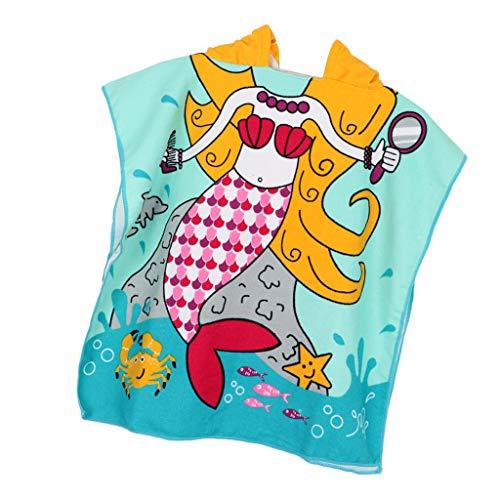 B Baosity Weicher Bademantel Badeponcho Poncho mit Kapuze Kinder Umkleidemantel Handtuch Strandtuch Kapuzenhandtuch - Blaue Meerjungfrau