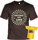 Veri  T-Shirt Geschenk Idee Set zum 30 Geburtstag mit Mini Shirt für die Flasche seit 1988 Original Gr. L in braun :