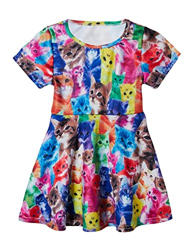 dchen Kurzarm Bunte Katzen Baumwolle Casual Dress 24 Monate-9 Jahre (Katze Kostüm 24 Monate)