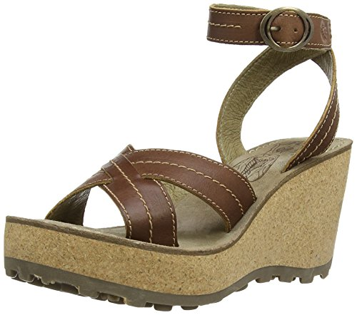 Fly London Gera, Sandales compensées femme Marron (Tan)