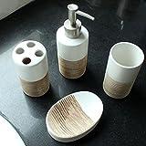Minzhi 4PCS Klassischer Art-Keramik-Seifenschale Spender Zahnb¨¹rstenhalter Badezimmer Set Keramik Cup Lotion Bottle Kit