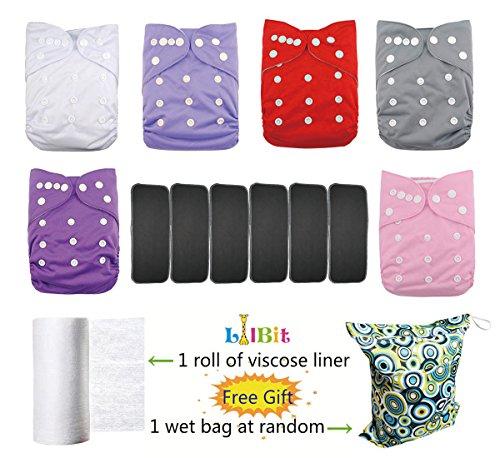 Lilbit Baby 6Pack waschbar wiederverwendbar verstellbar Taschenformat Tuch Windel mit 6Fünf Schichten Bambus anthrazit fügt lbt-uk