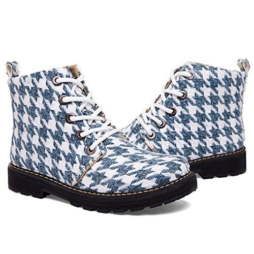 Hikenn Winter Mode Stiefel Damen Freizeitschuhe Houndstooth Baumwolle Martin Stiefel Damen Stiefeletten Weiß
