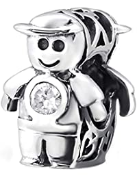 So Chic Joyas - Abalorio Charm de Little Boy sonriente de malla Circonita Blanca - Compatible con Pandora, Trollbeads, Chamilia, Biagi - Plata 925
