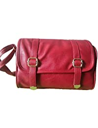 Apexion Premium Quality Women's Maroon Sling Bag With Stylish Buckles And Adjustable Straps