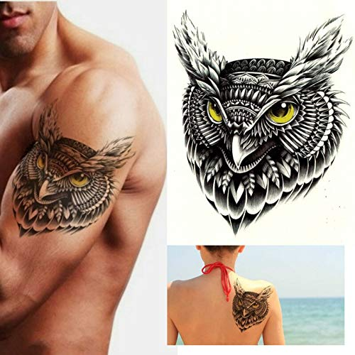 tzxdbh 5pcs Tribal Owl Tattoo, Vogel, Schwarz, Herren, Damen, Kinder, Transfer, Aufkleber