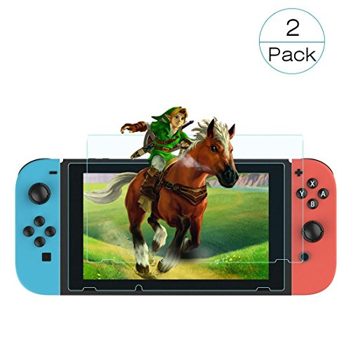 Galleria fotografica Voova 2pcs/lot Nintendo Switch Glass Screen Protector, Premium Bubble Free Anti-Fingerprint Scratch Resistant Tempered Glass Screen Protector for Nintendo Switch