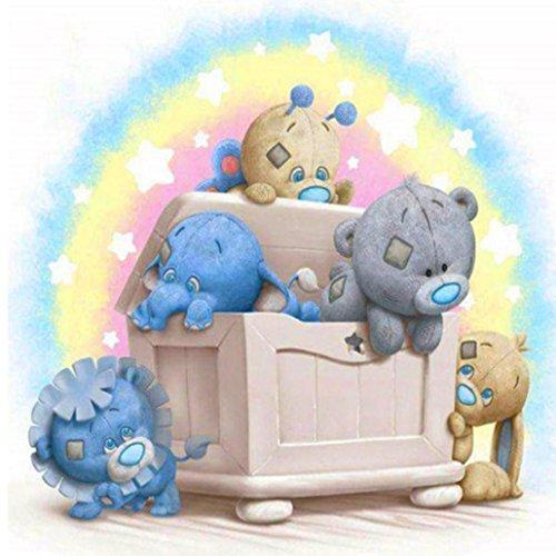 Binggong 5D Stickerei Gemälde Strass Eingefügt DIY Diamant Malerei Kreuzstich Teddybär Malerei Warme Heimtextilien Für Kinder Geeignet 25x25cm (25x25cm, E) -