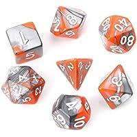 Richi 7pcs/set Acrílico Polyhedral dados para trpg Junta Juego MAZMORRAS y dragones D4-D20, Anaranjado